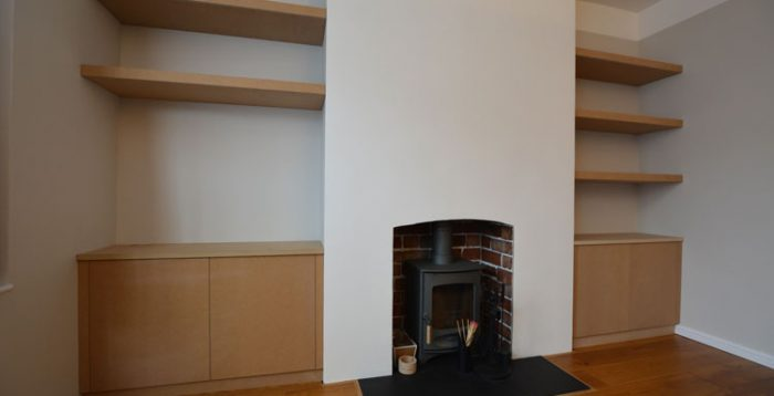 Bespoke alcove cupboard and floating shelves Bristol