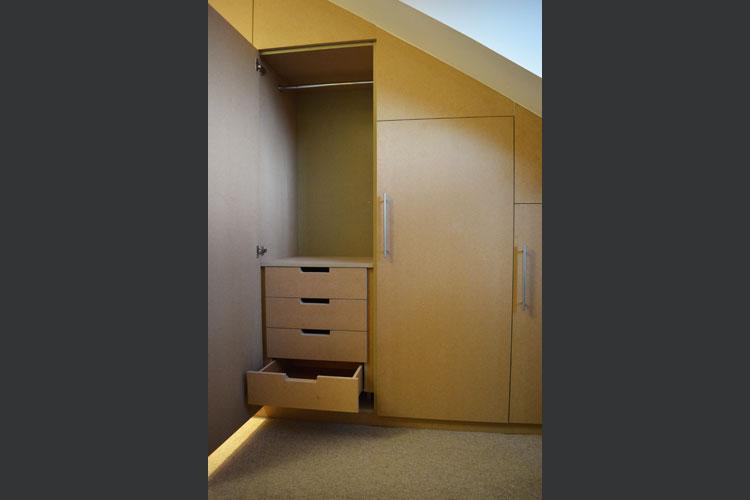 Hand built contemporary style attic wardrobe