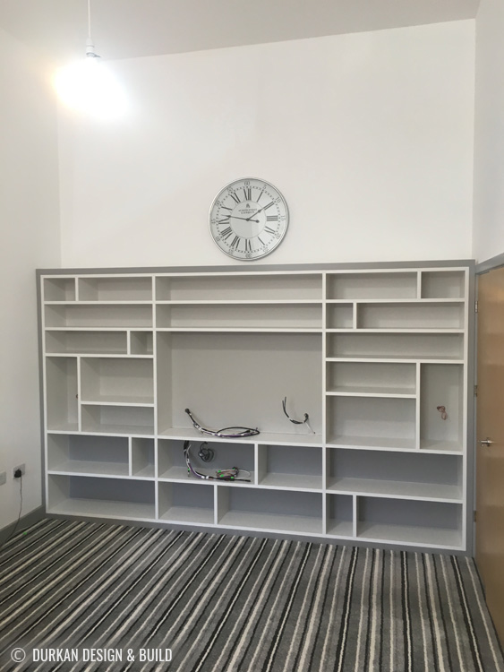 shelving painted in four shades of farrow and ball