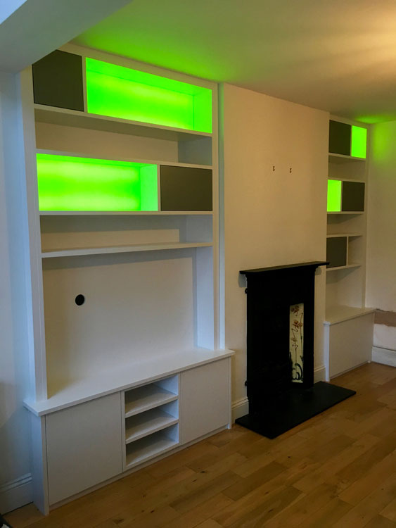 Backlit alcove shelving