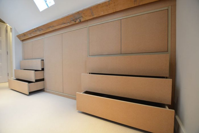 Fitted attic space drawers and cupboard