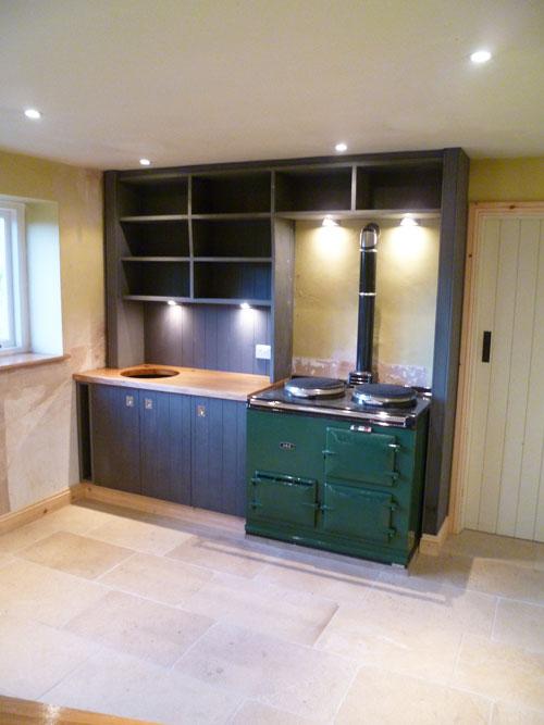 Custom hand built kitchen with portable island