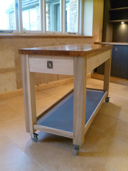 Custom hand built kitchen with portable island