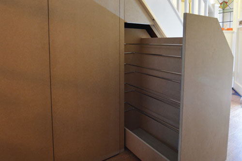Under stair shoe rack drawer