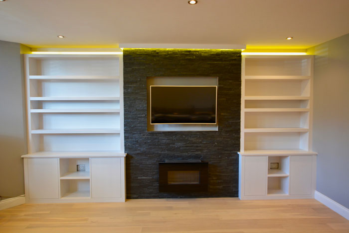 Alcove shelving & cupboards in a contemporary style