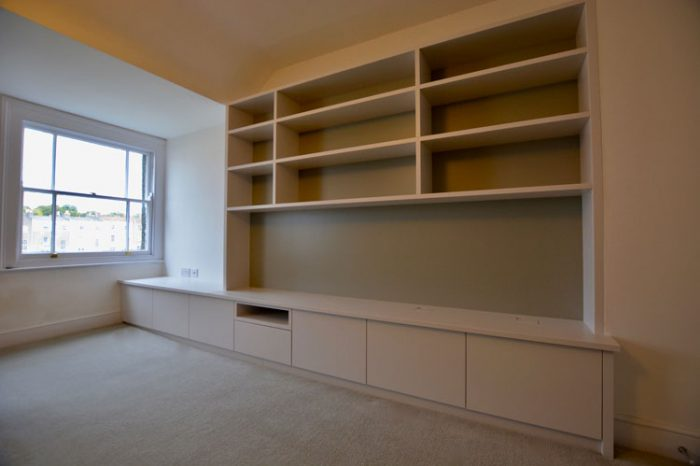 Media unit with incorporated window seat