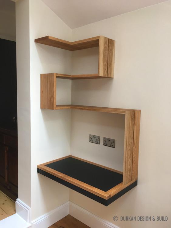 Floating desk with corner shelf