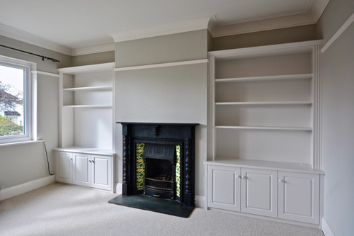Fitted period alcove shelves
