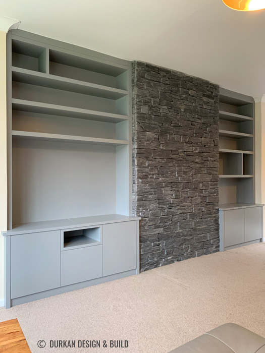 Alcove cupboards and shelves
