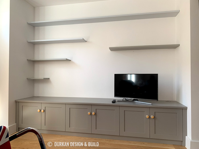 Painted media cabinet and shelves