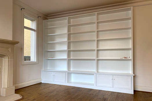 LP and book shelving