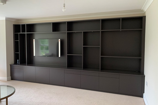 Media unit and display shelves