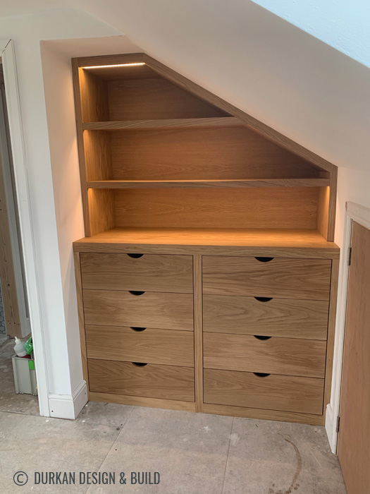 Oak drawers and floating dressing table